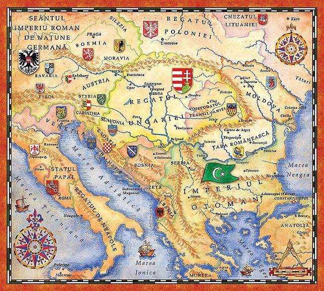 The map of Balkan and Europe