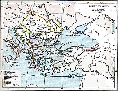 Map of South Eastern Europe; Year 1401