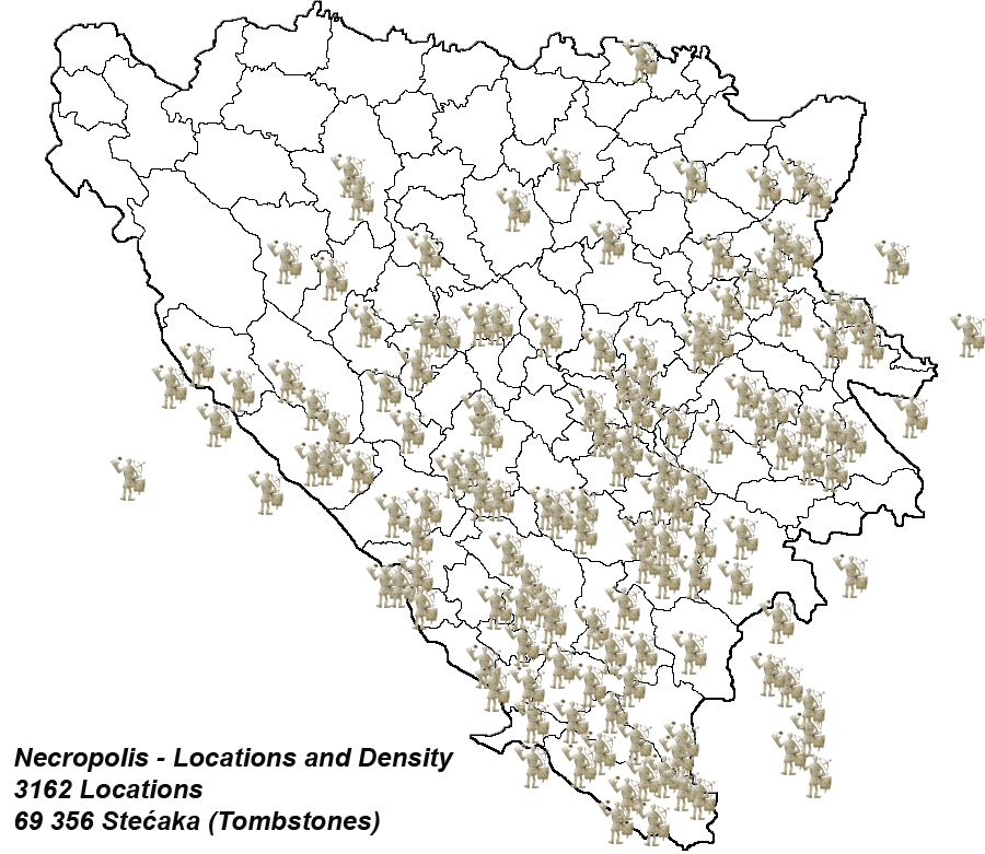 Location of Stećci on the map of Bosnia and Herzegovina and surrounding area that use to be part of the Kingdom of Bosnia