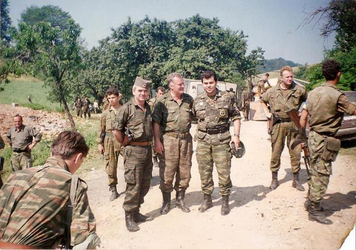 Zvonko Bajagic, Ratko Mladic, and Antonis Mitkos - Srebrenica 11 July 1995