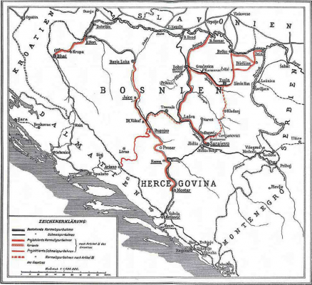 Bosnia and Herzegovina railway map of 1913